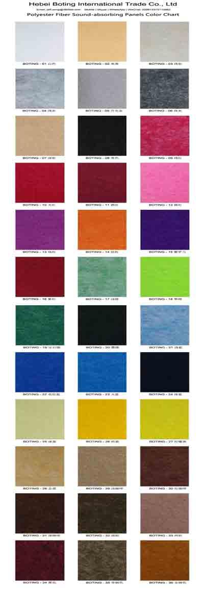 Color Chart PET Acoustic Panels