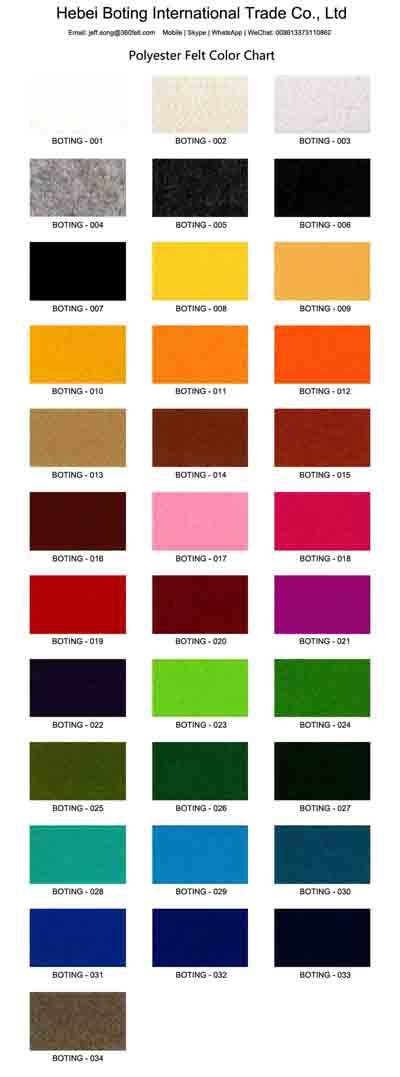 Color Chart Polyester Felt