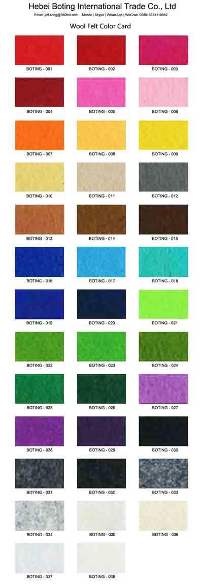 Color Chart Wool Felt