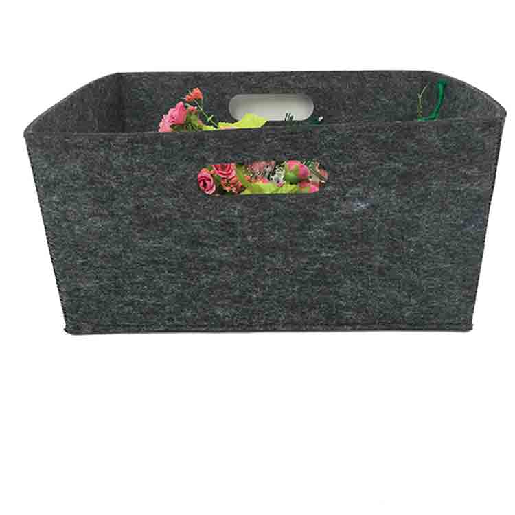 grey felt storage basket 2